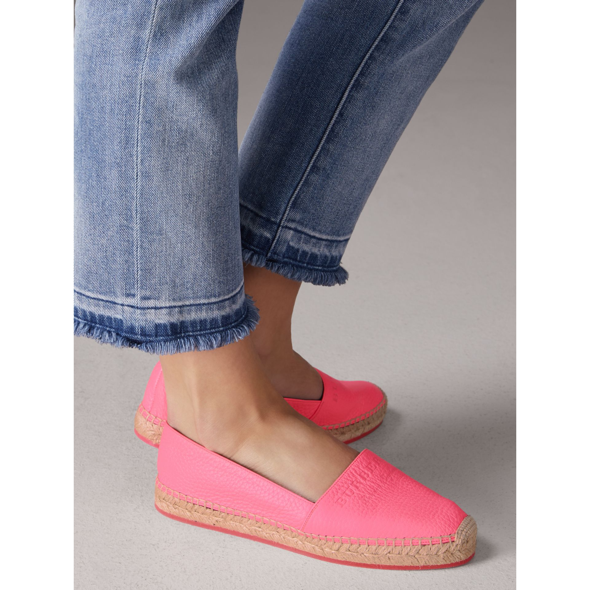 Embossed Grainy Leather Espadrilles in Neon Pink - Women | Burberry - gallery image 2