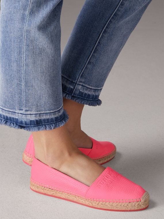 Embossed Grainy Leather Espadrilles in Neon Pink - Women | Burberry Australia - cell image 2