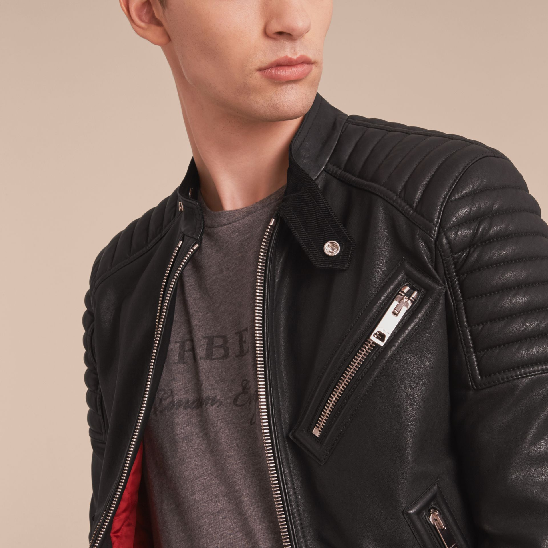 Panel Detail Lambskin Jacket in Black - Men | Burberry - gallery image 5