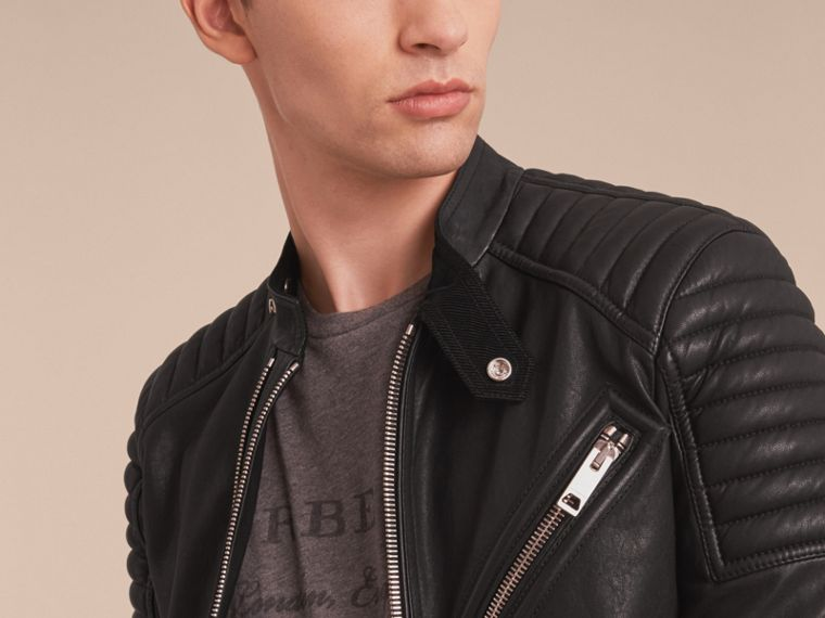 Panel Detail Lambskin Jacket in Black - Men | Burberry - cell image 4