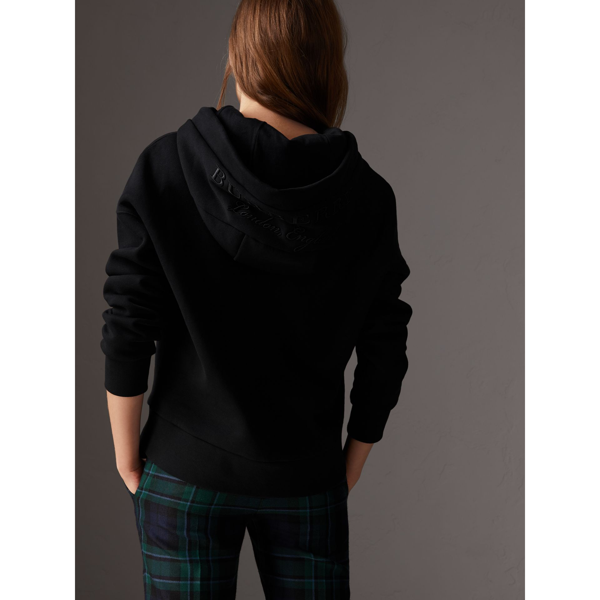 Embroidered Hood Fleece-back Jersey Sweatshirt in Black - Women | Burberry Hong Kong - gallery image 1