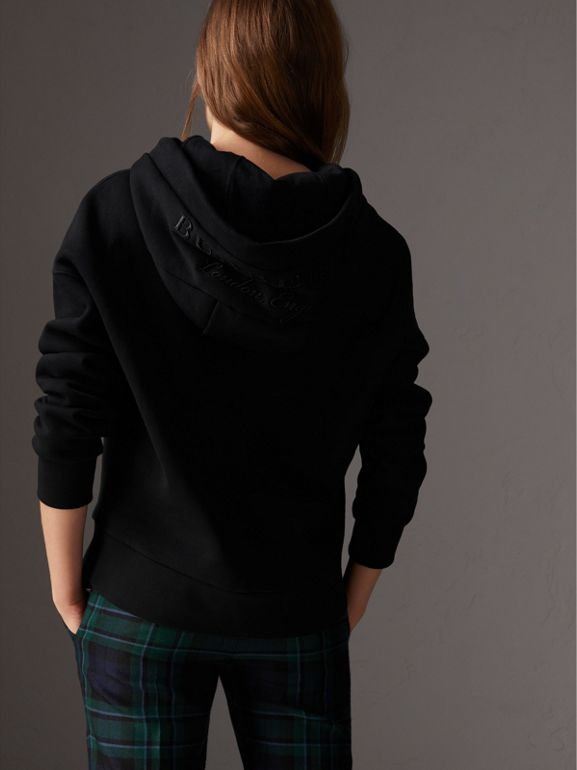 Embroidered Hood Fleece-back Jersey Sweatshirt in Black - Women | Burberry United Kingdom - cell image 1