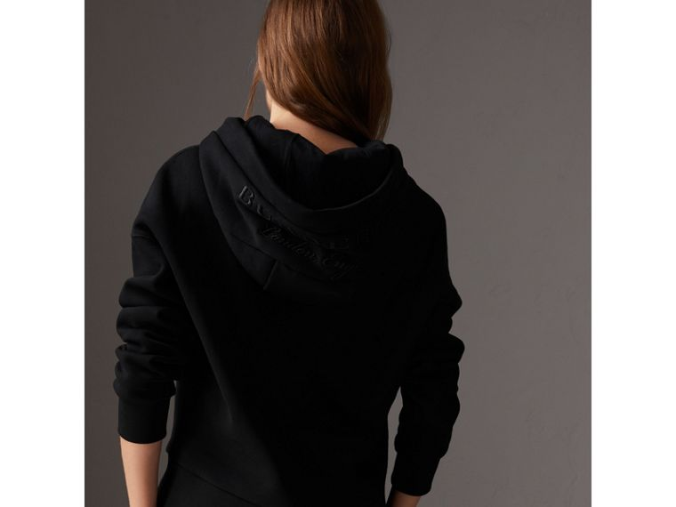 Embroidered Hood Fleece-back Jersey Sweatshirt in Black - Women | Burberry Hong Kong - cell image 1