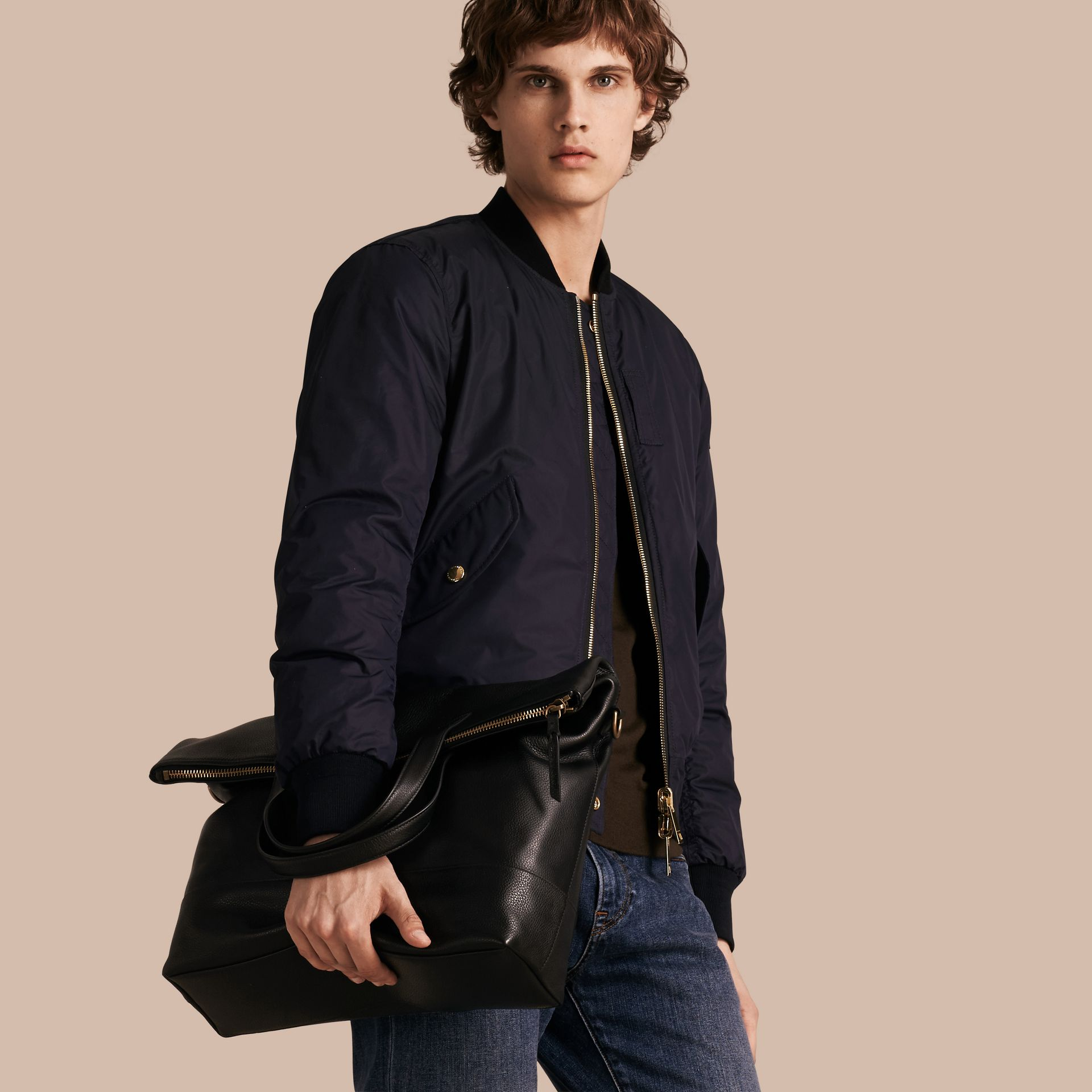 Black Grainy Leather Folding Messenger Bag - gallery image 4
