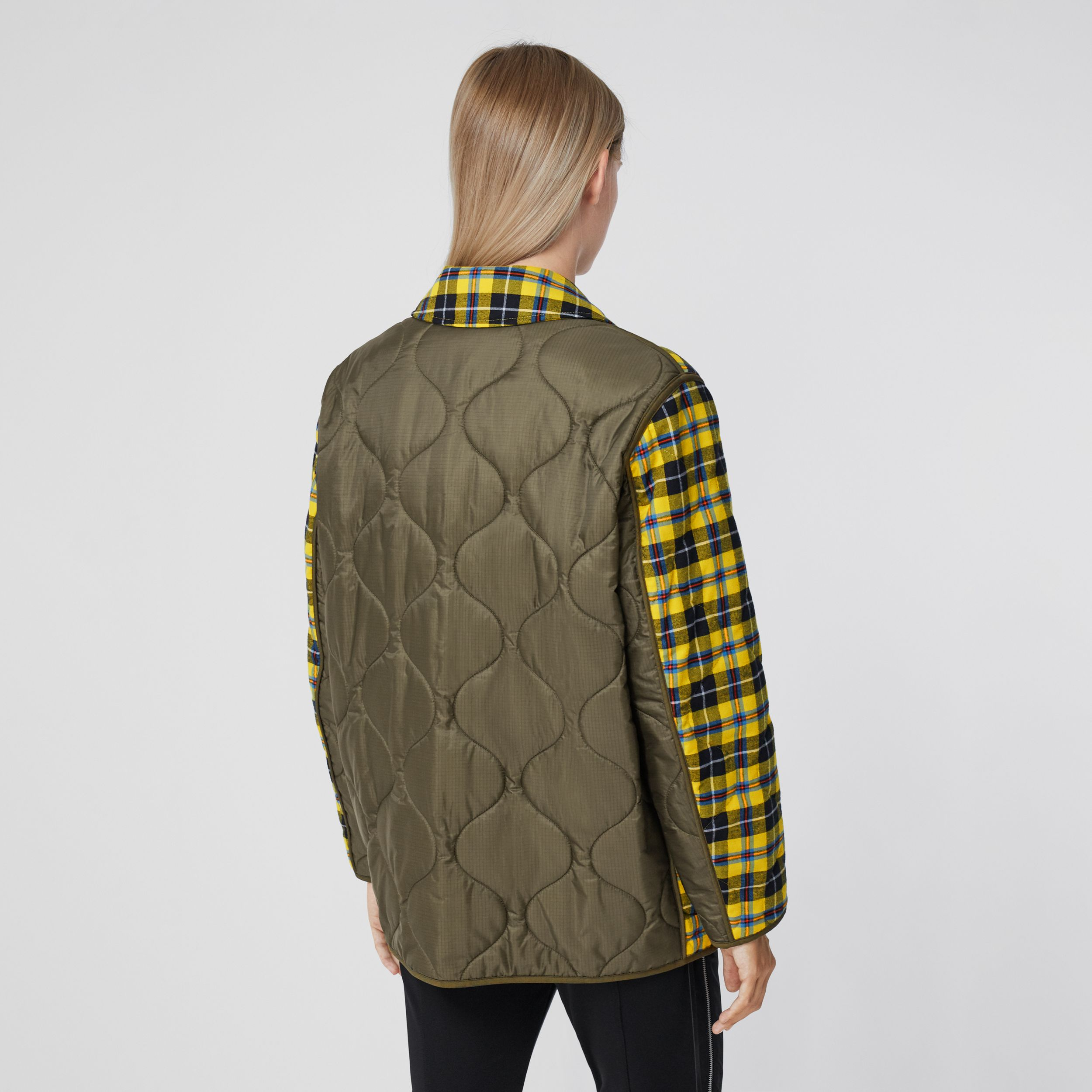 Check Cotton and Quilted Nylon Overshirt - Women | Burberry - 3