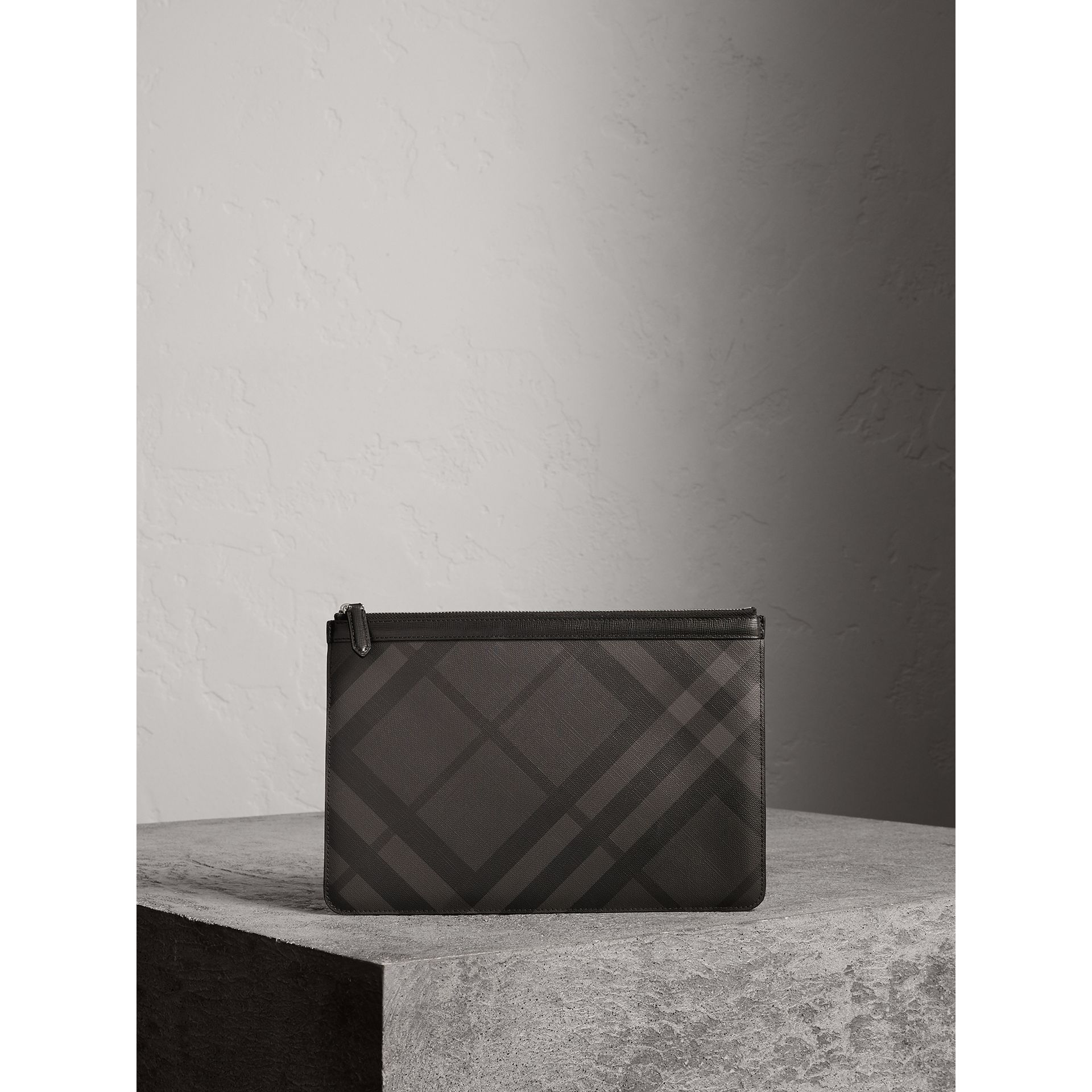 Zipped London Check Pouch in Charcoal/black - Men | Burberry - gallery image 1