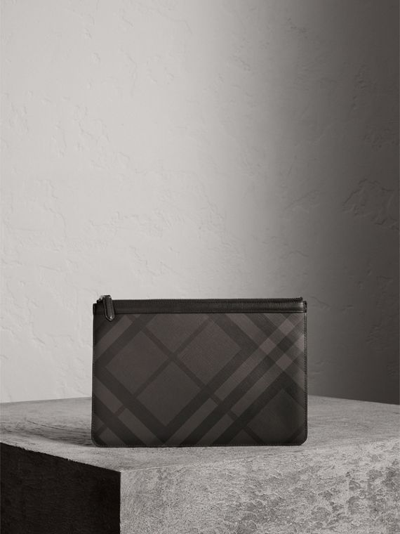 Zipped London Check Pouch in Charcoal/black