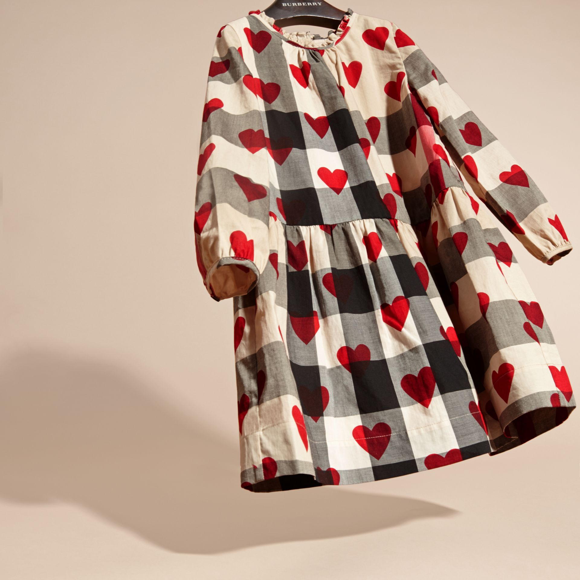 Parade red Check and Heart Print Cotton Tunic Dress - gallery image 3