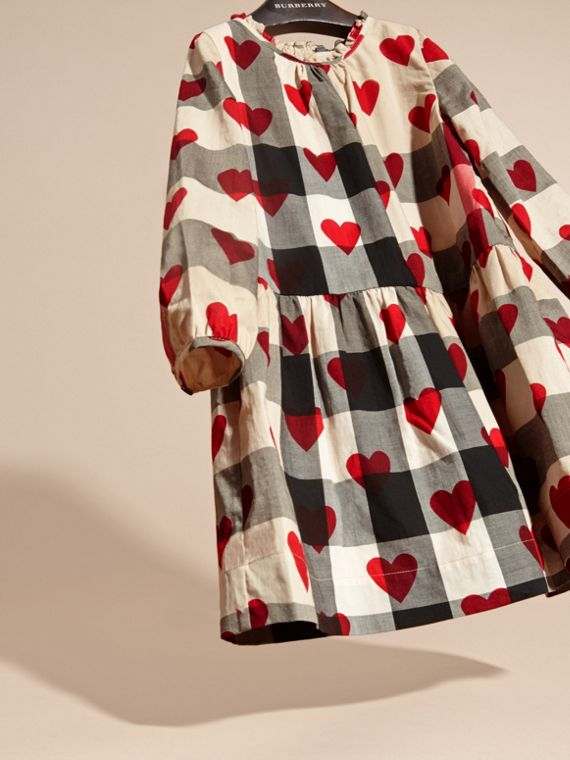 Parade red Check and Heart Print Cotton Tunic Dress - cell image 2
