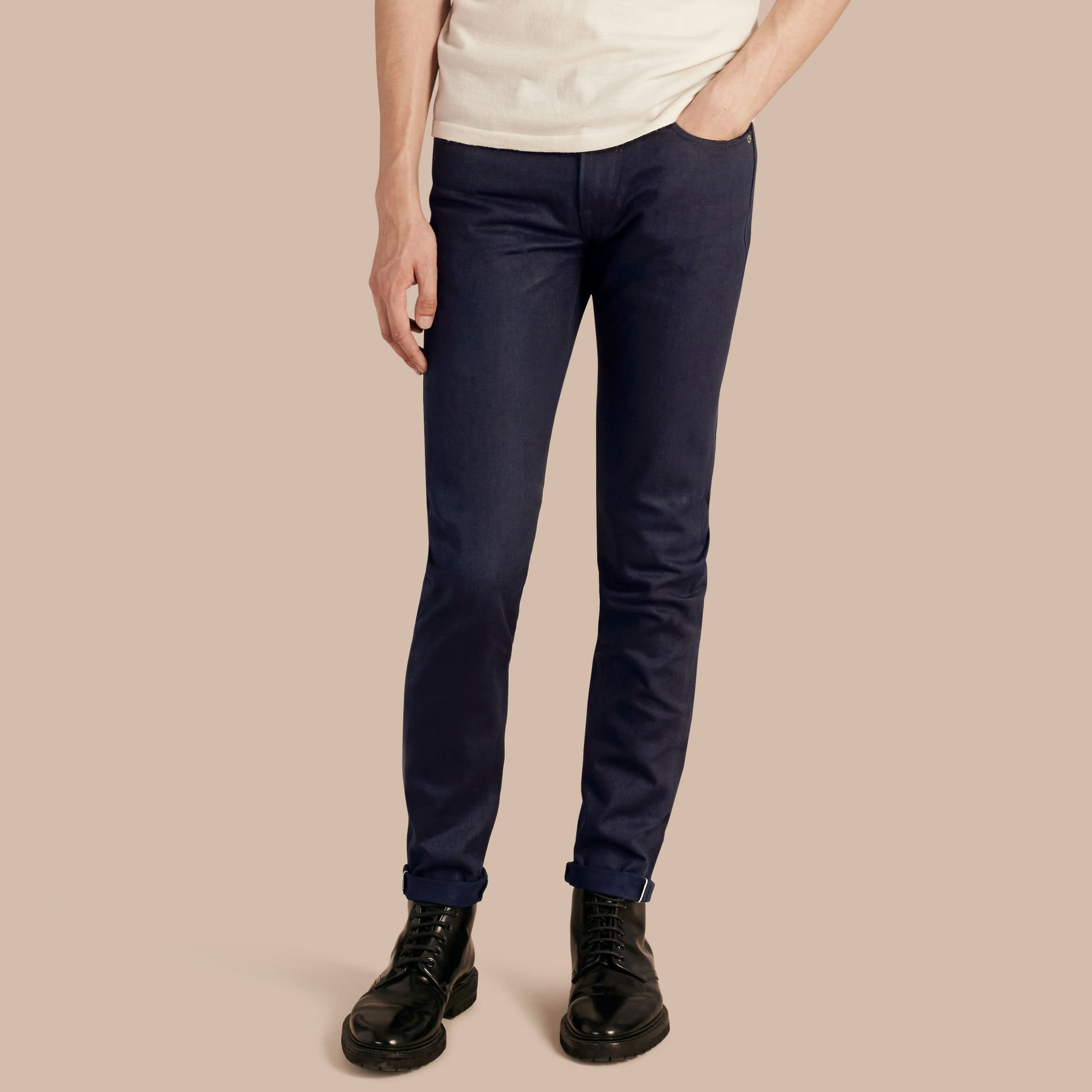 Dark indigo Slim Fit Saturated Selvedge Jeans - gallery image 1