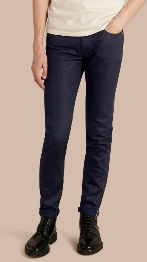 Dark indigo Slim Fit Saturated Selvedge Jeans - Image 1