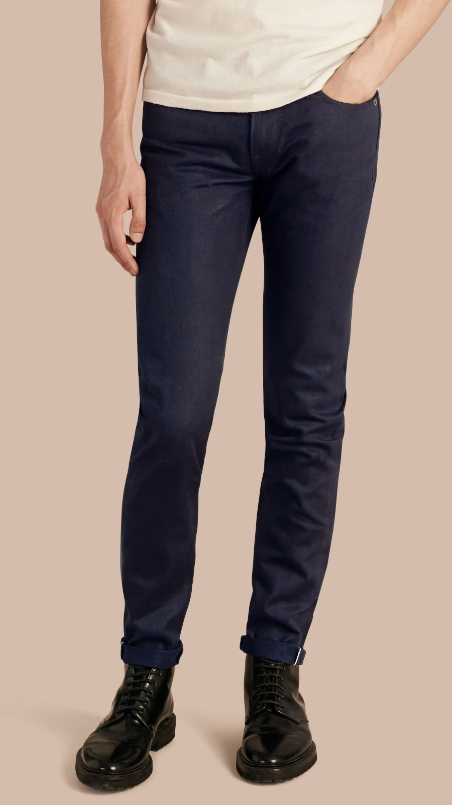 Dark indigo Slim Fit Saturated Selvedge Jeans - Image 1