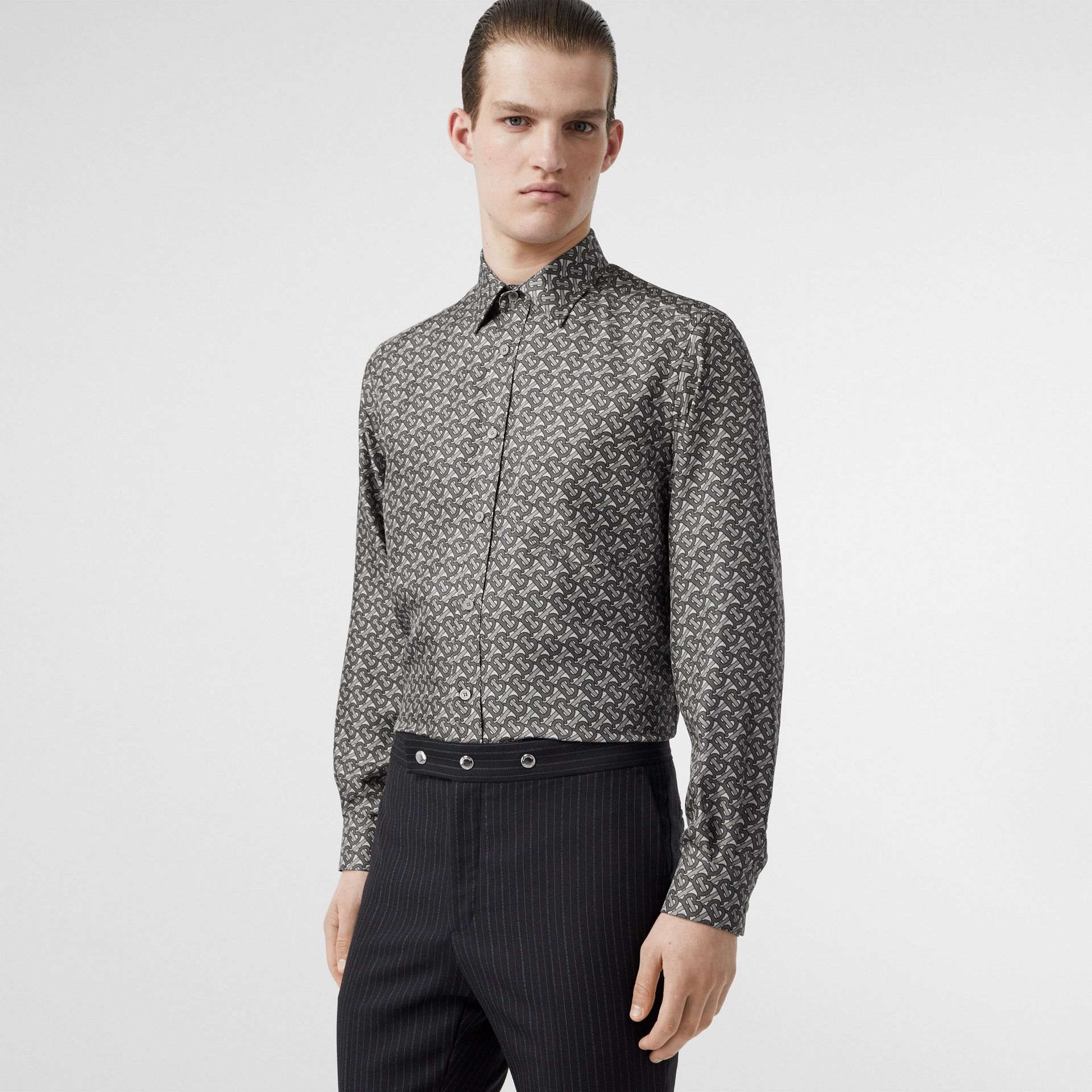 Classic Fit Monogram Print Silk Twill Shirt in Mid Grey - Men | Burberry - gallery image 0