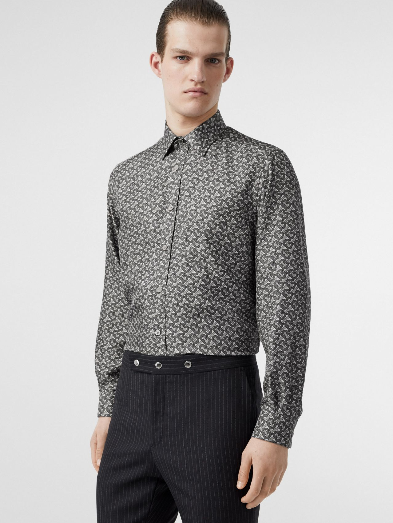 Classic Fit Monogram Print Silk Twill Shirt in Mid Grey