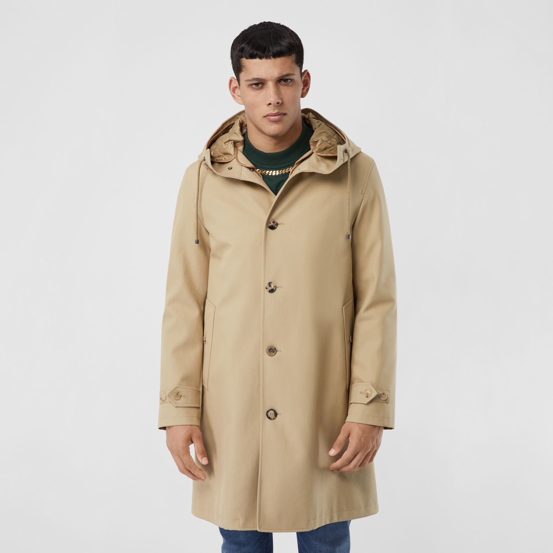 Cotton Gabardine Coat with Detachable Warmer in Honey - Men | Burberry - gallery image 6