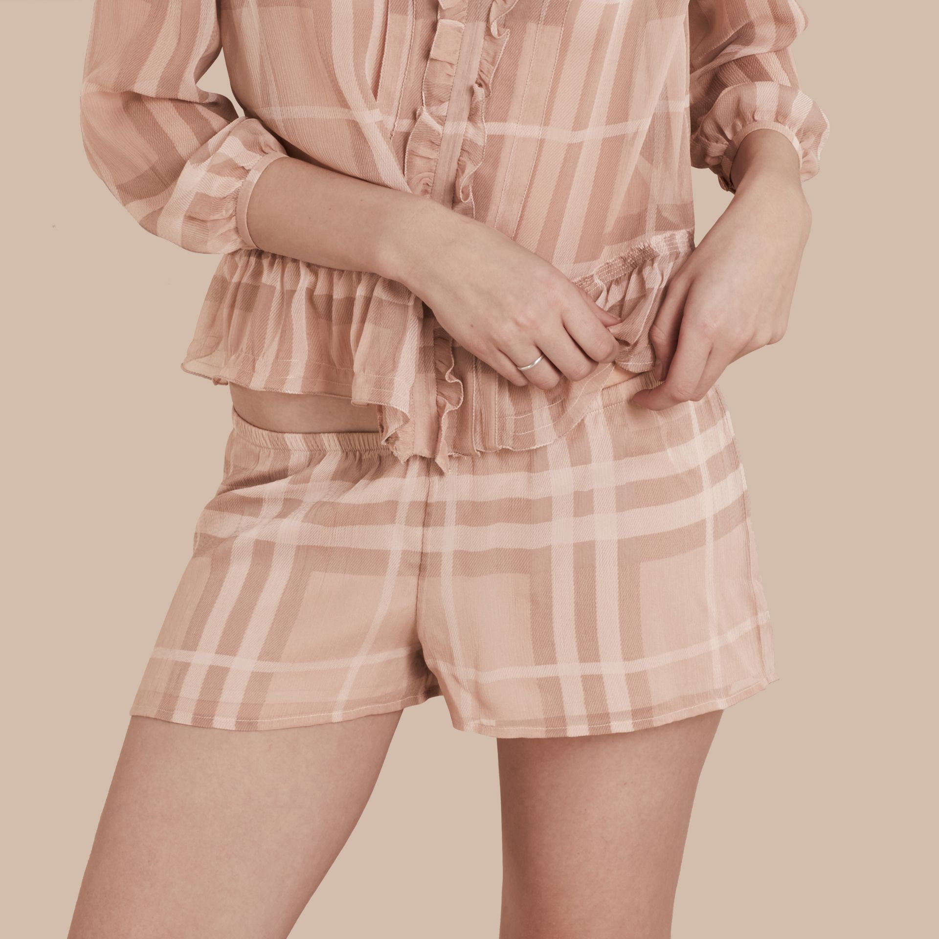 Tonal Check Silk Crepon Shorts Nude - gallery image 1