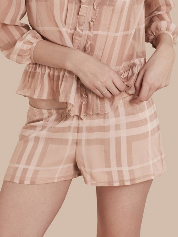 Tonal Check Silk Crepon Shorts Nude
