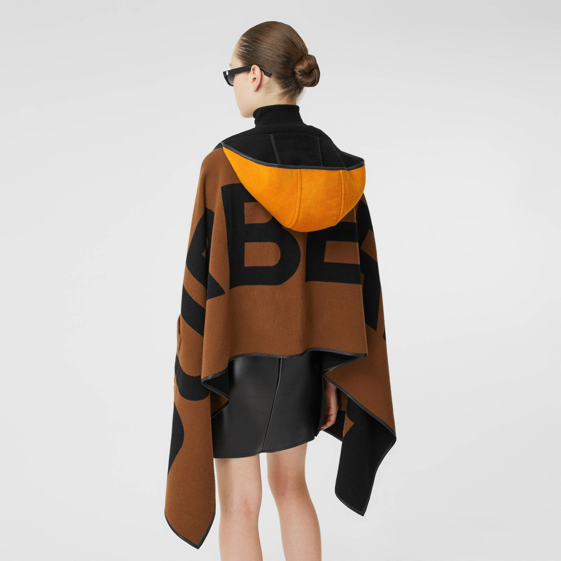 Logo Wool Cotton Jacquard Hooded Cape in Dark Chestnut Brown | Burberry - gallery image 9