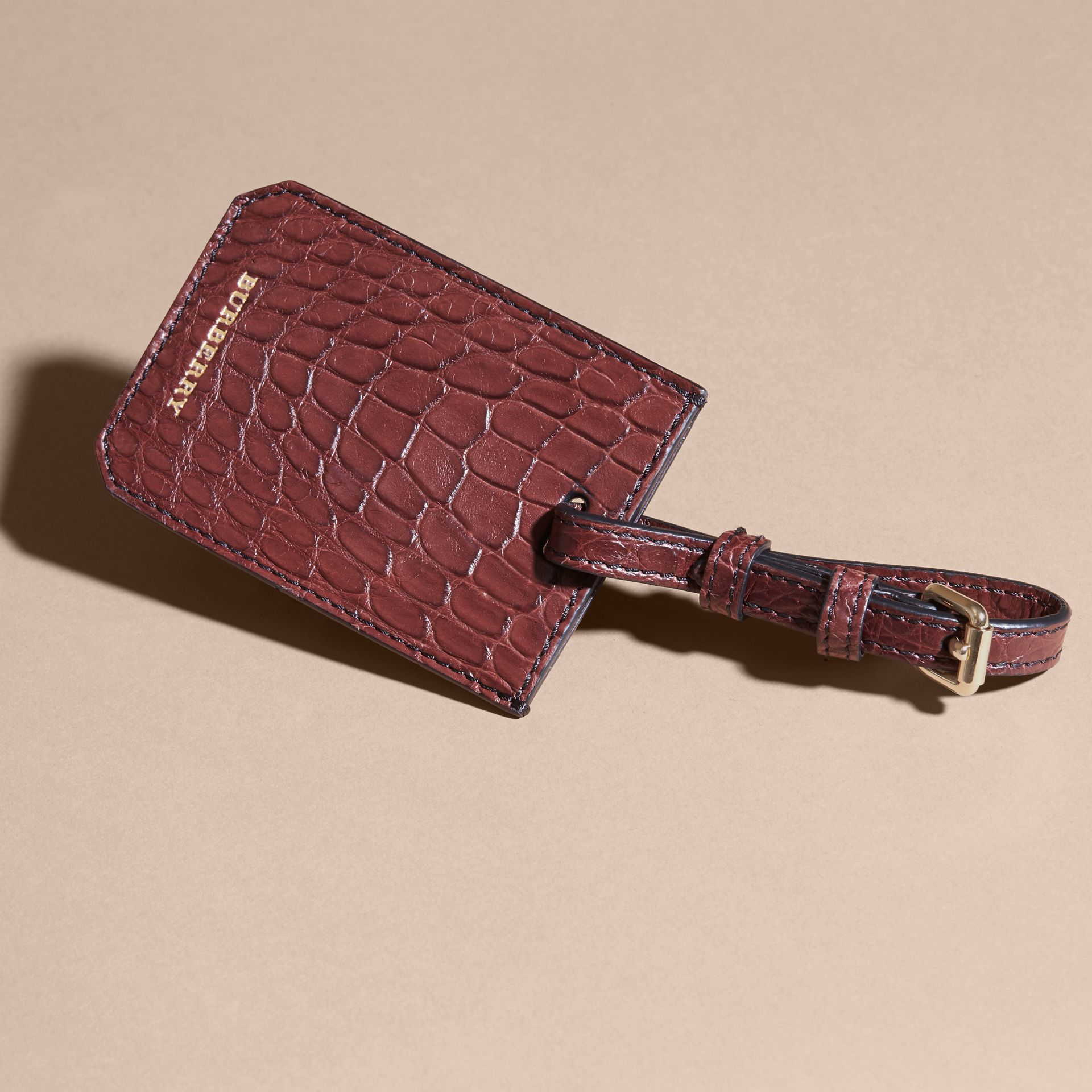 Alligator Luggage Tag in Deep Claret | Burberry - gallery image 3