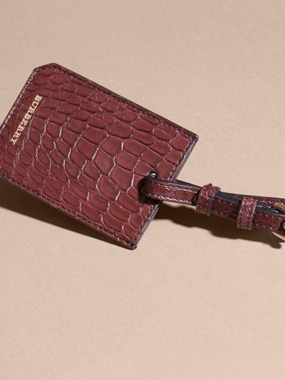 Alligator Luggage Tag in Deep Claret | Burberry Singapore - cell image 2