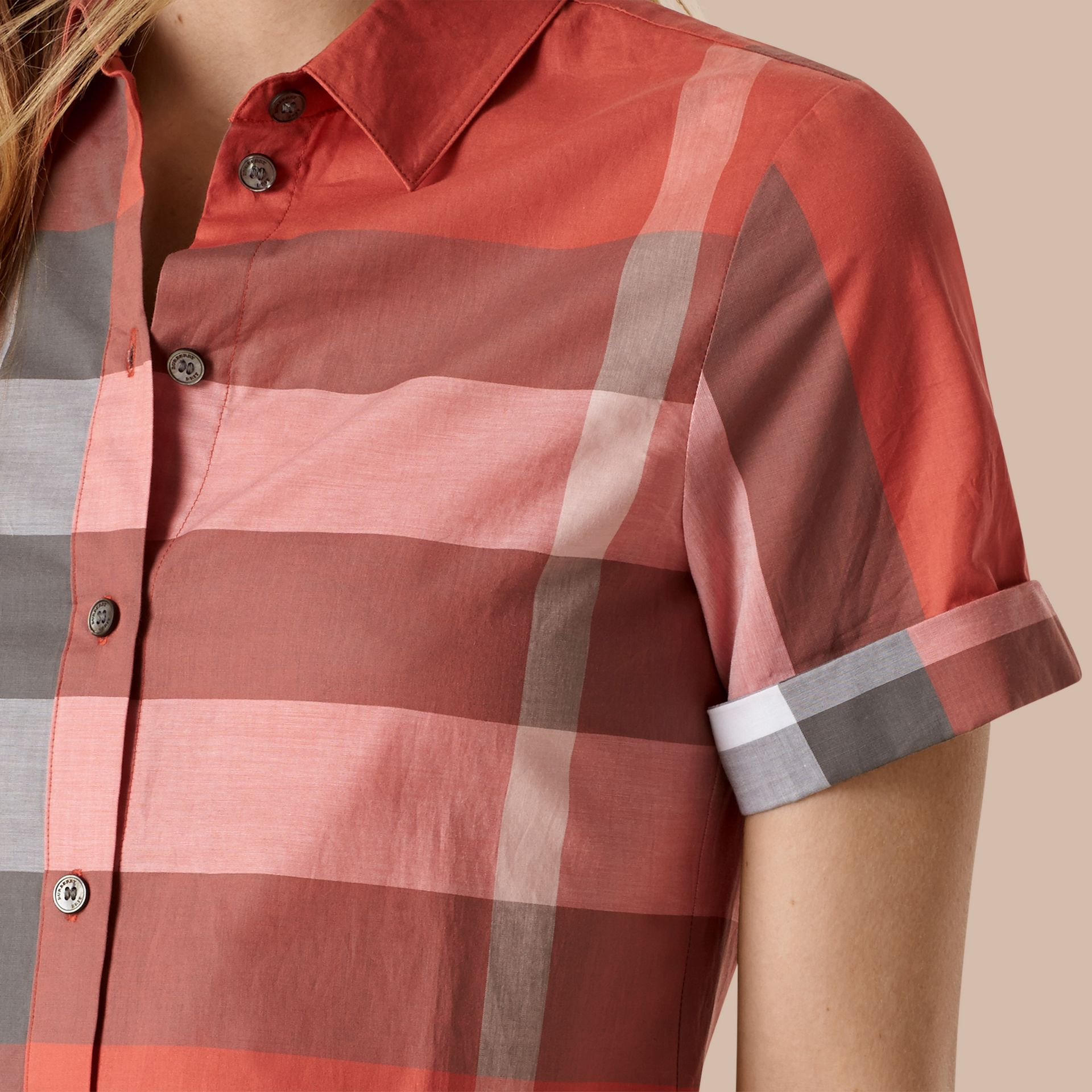 Copper pink Short-sleeved Check Cotton Shirt Copper Pink - gallery image 2