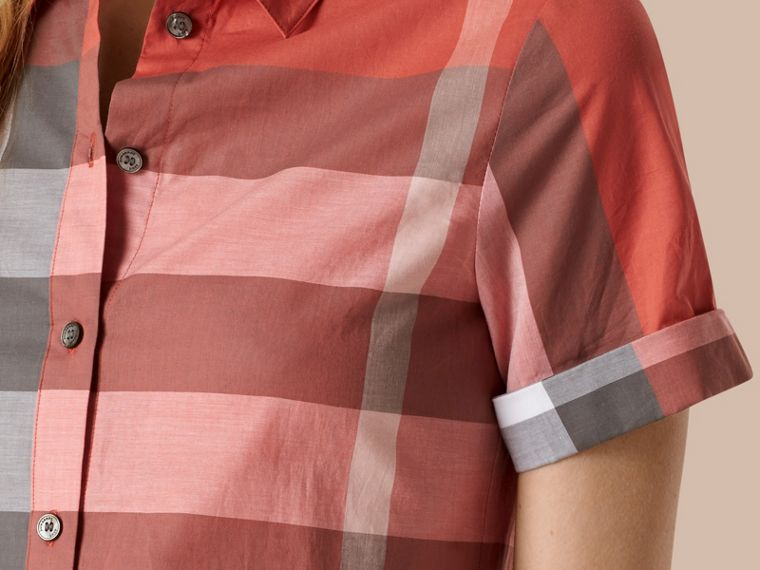 Copper pink Short-sleeved Check Cotton Shirt Copper Pink - cell image 1