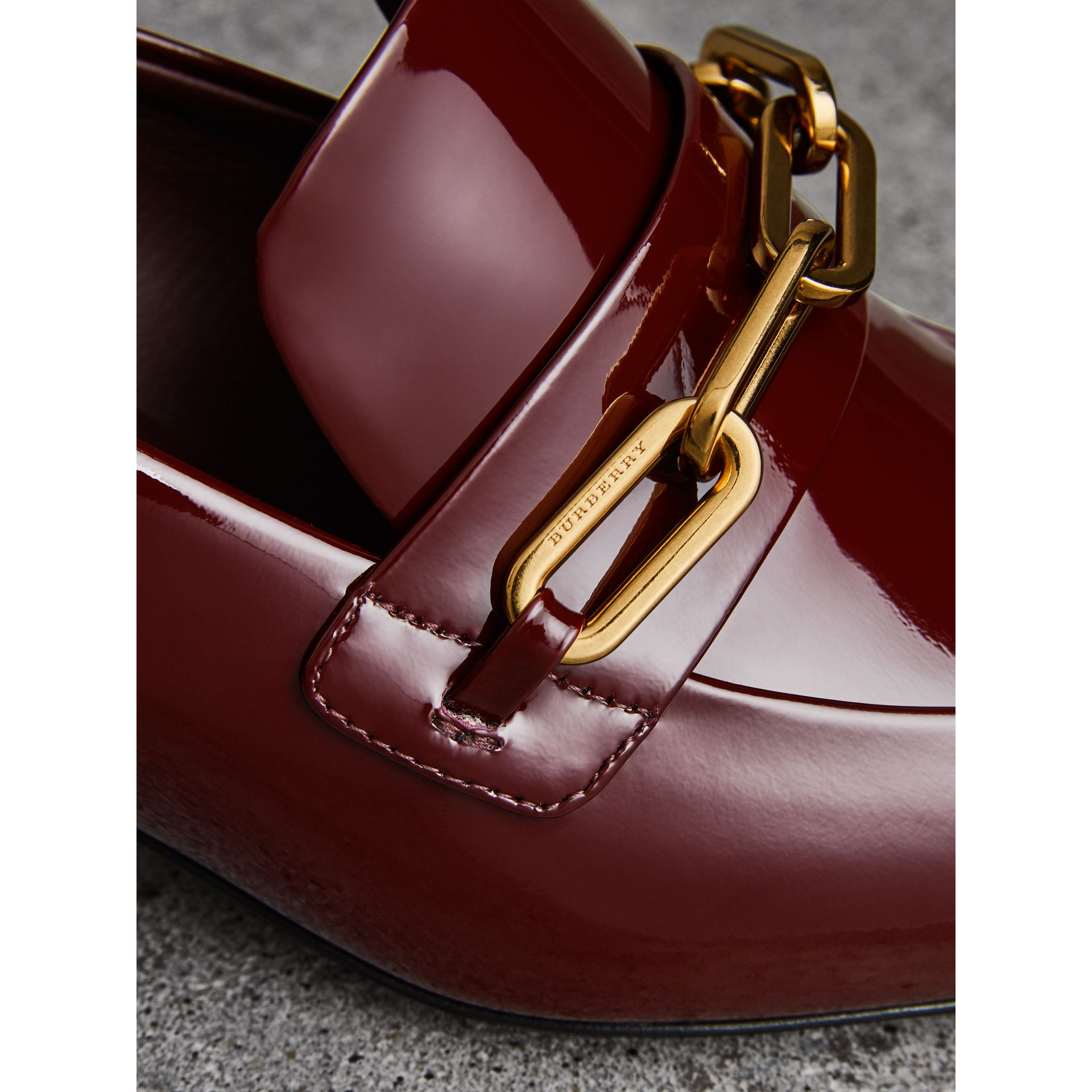 Link Detail Patent Leather Block-heel Loafers in Burgundy Red - Women | Burberry Canada - gallery image 1