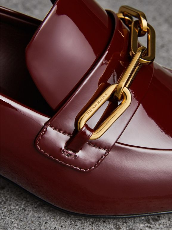Link Detail Patent Leather Block-heel Loafers in Burgundy Red - Women | Burberry Canada - cell image 1