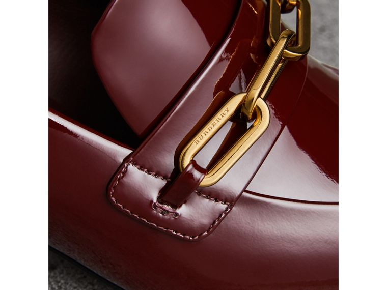 Link Detail Patent Leather Block-heel Loafers in Burgundy Red - Women | Burberry - cell image 1