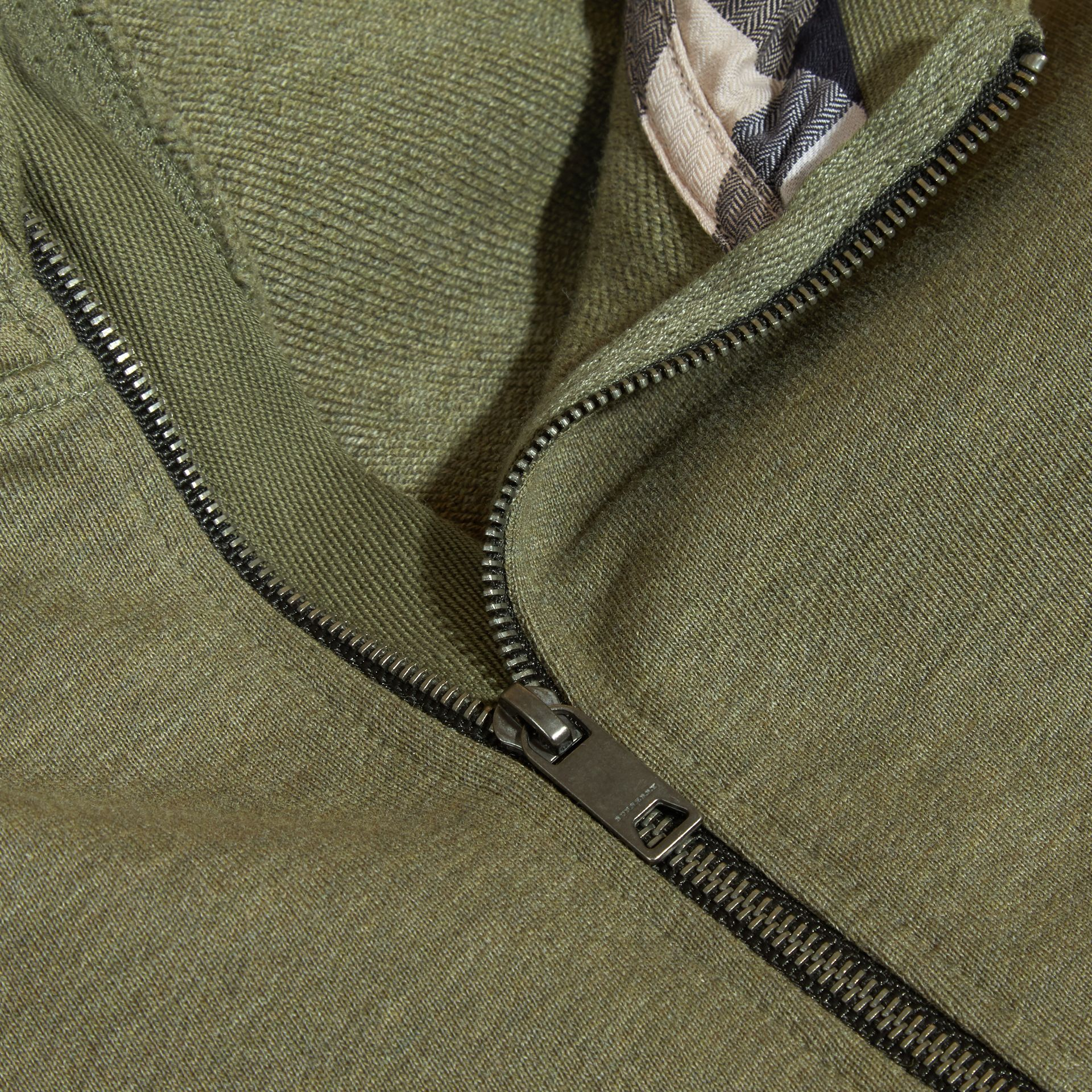 Hooded Cotton Top Khaki Green Melange - gallery image 2