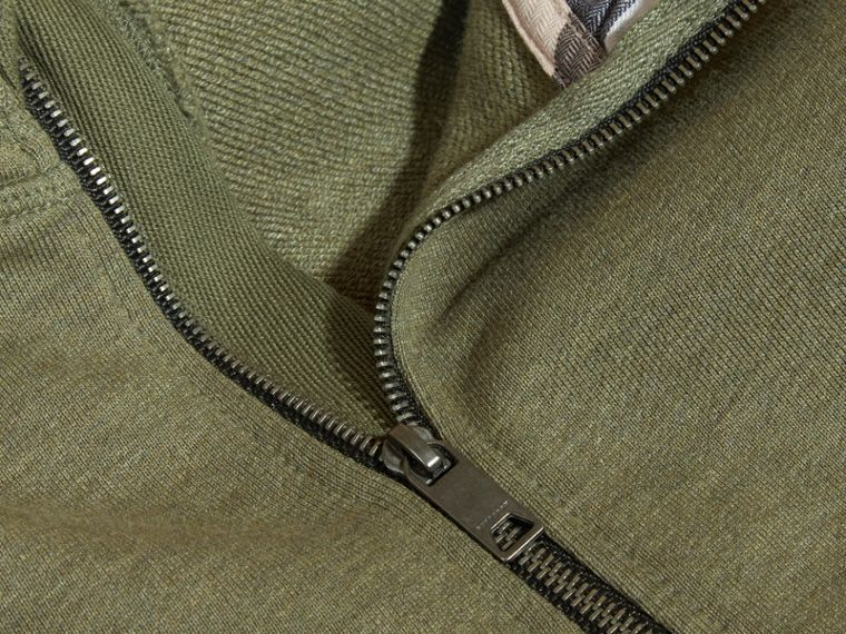 Hooded Cotton Top in Khaki Green Melange - Boy | Burberry - cell image 1