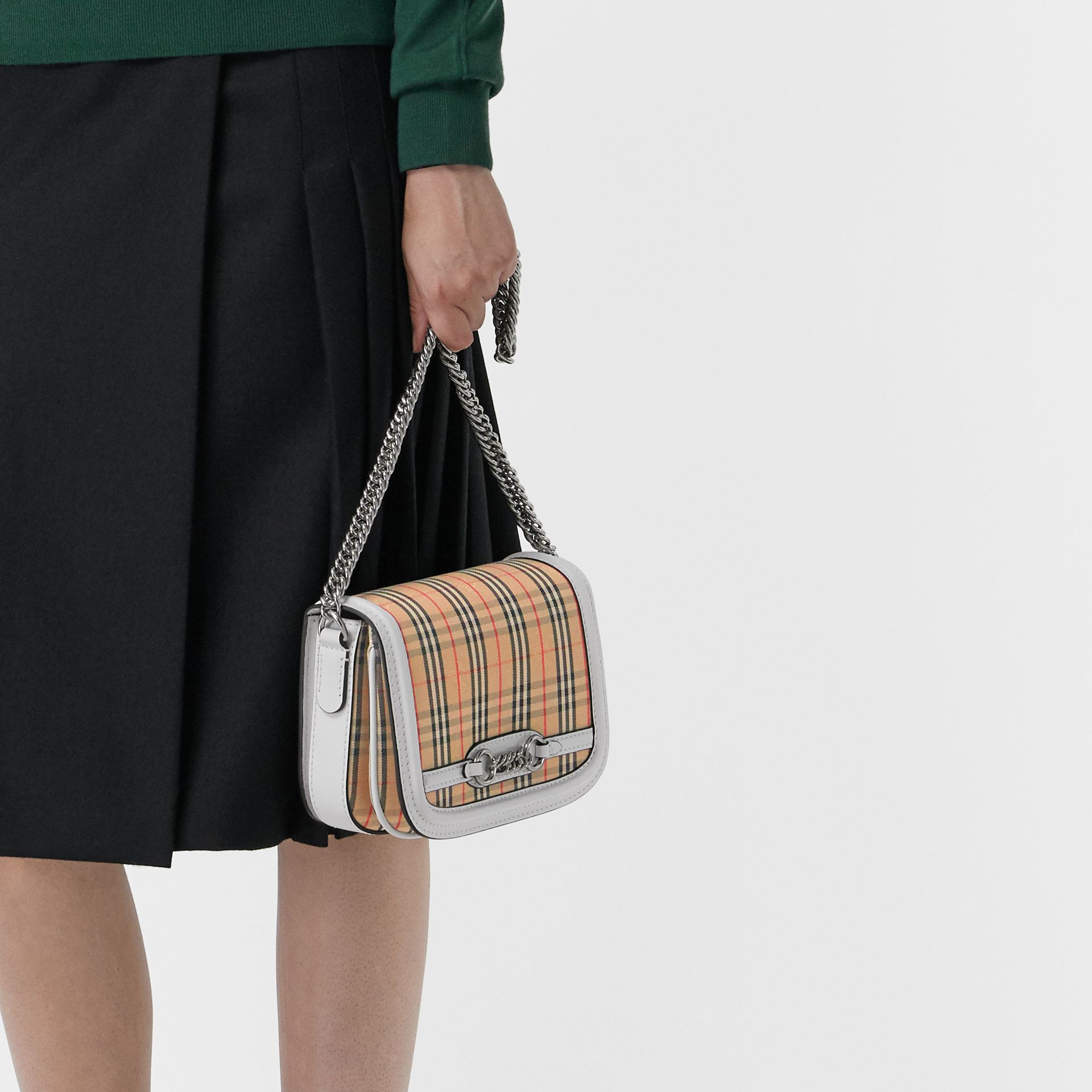 The 1983 Check Link Bag with Leather Trim in Chalk White - Women | Burberry Australia - gallery image 3