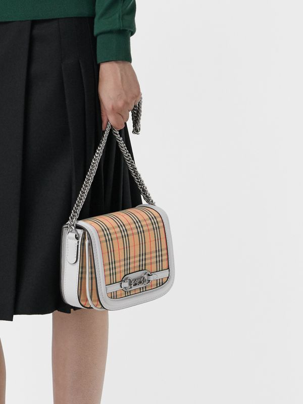 The 1983 Check Link Bag with Leather Trim in Chalk White - Women | Burberry - cell image 3