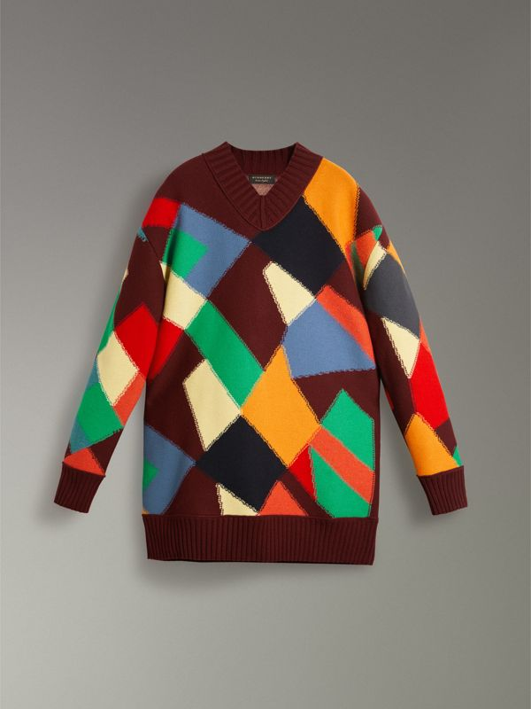 Patchwork Wool V-neck Sweater in Deep Claret | Burberry - cell image 3