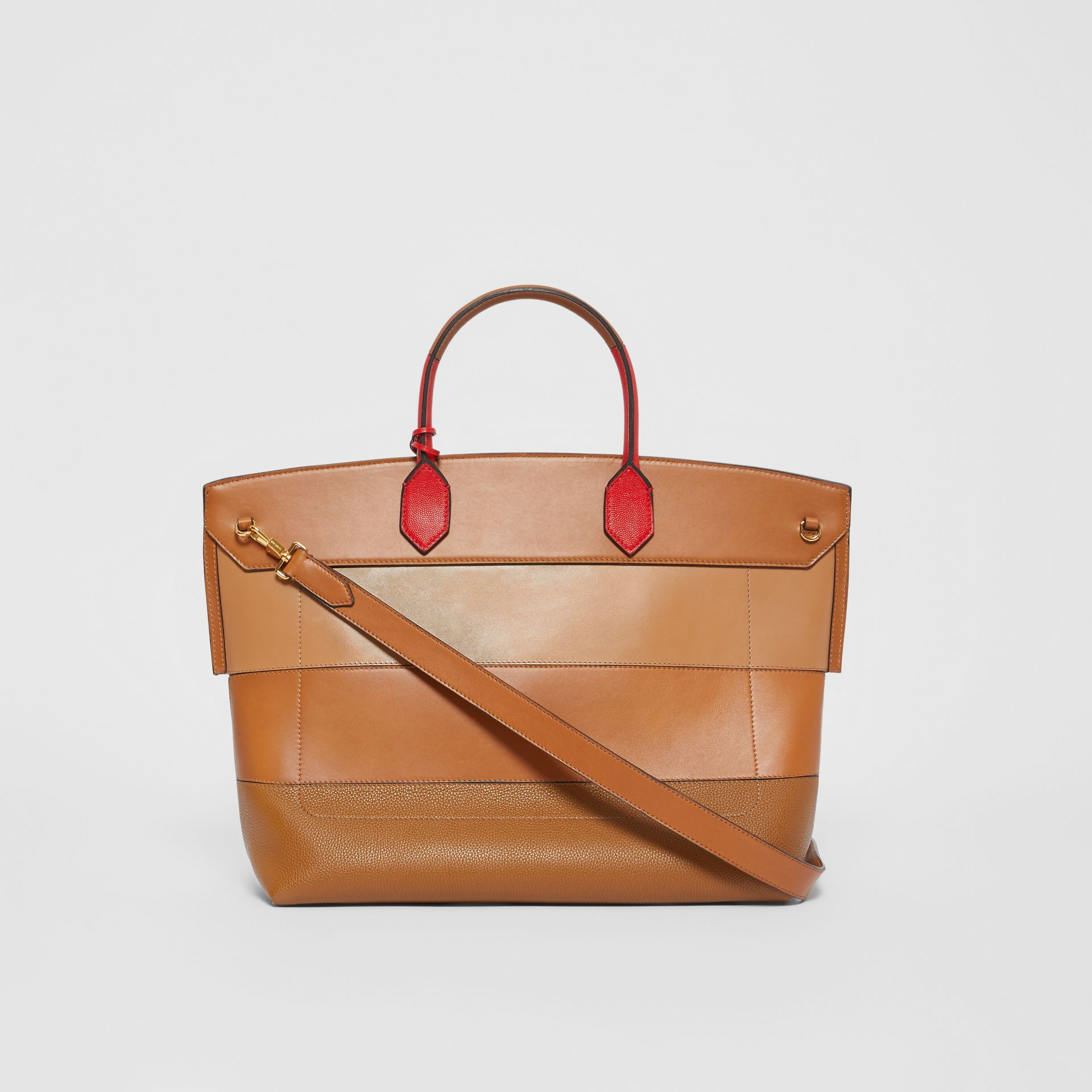 Panelled Leather Society Top Handle Bag in Warm Camel - Women | Burberry - gallery image 7