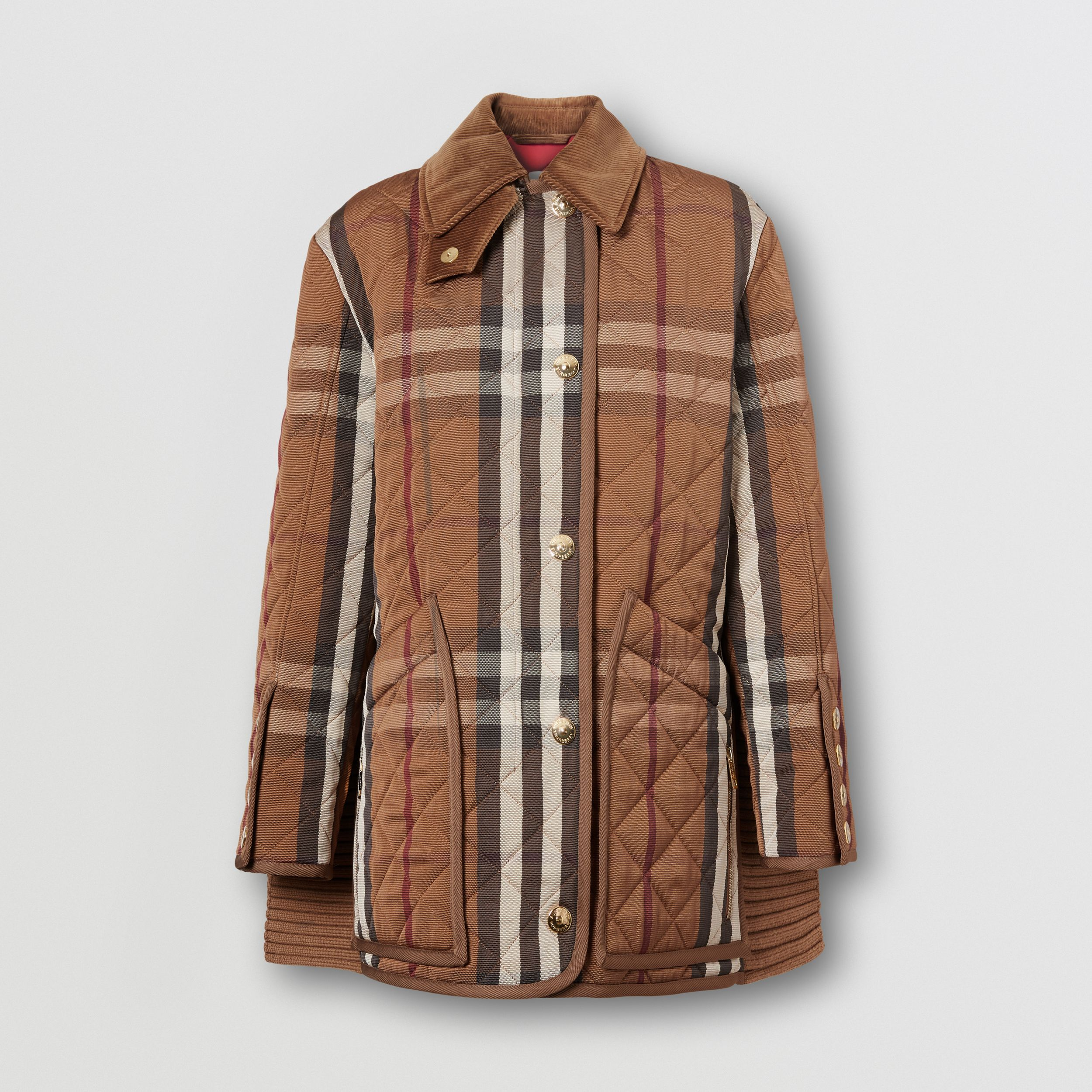 Rib Knit Panel Check Technical Cotton Barn Jacket in Birch Brown - Women | Burberry - 4