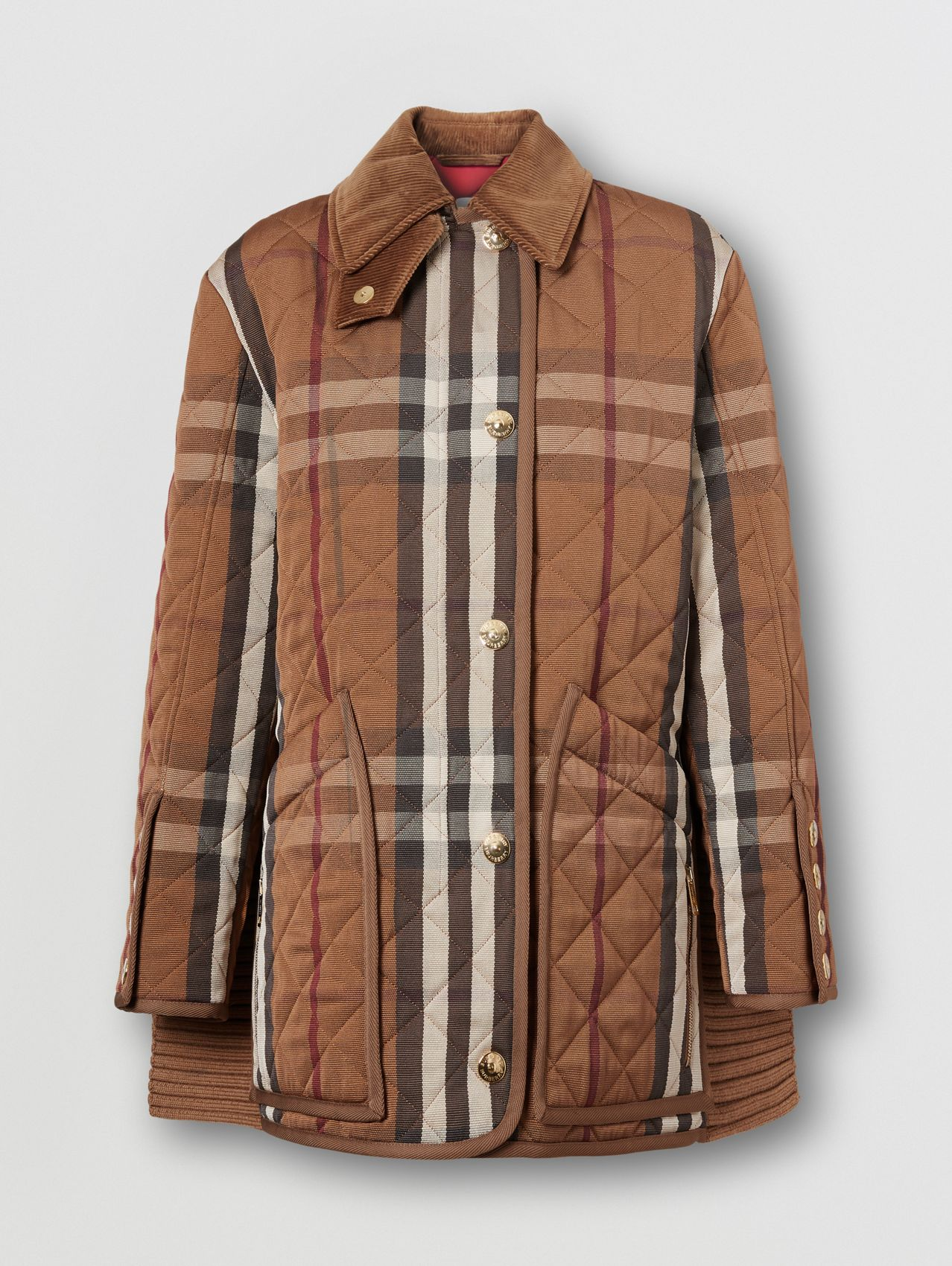 Rib Knit Panel Check Technical Cotton Barn Jacket in Birch Brown