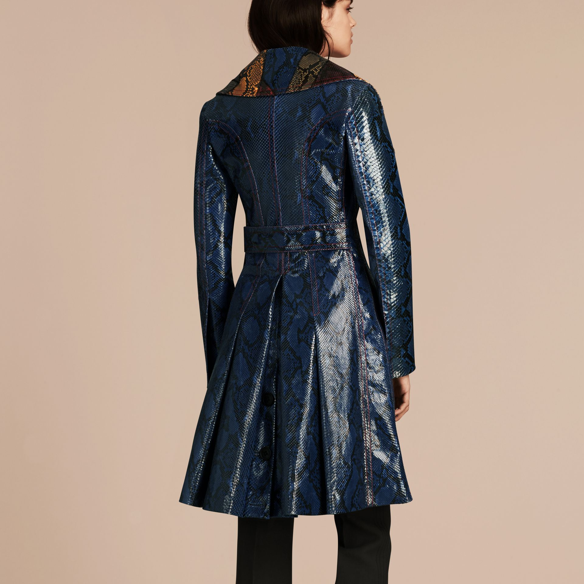 Mineral blue Regimental Glossy Python Coat - gallery image 3