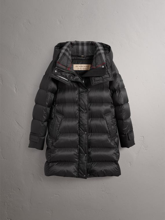 Detachable Hooded Down-filled Puffer Coat in Black - Women | Burberry United States - cell image 3