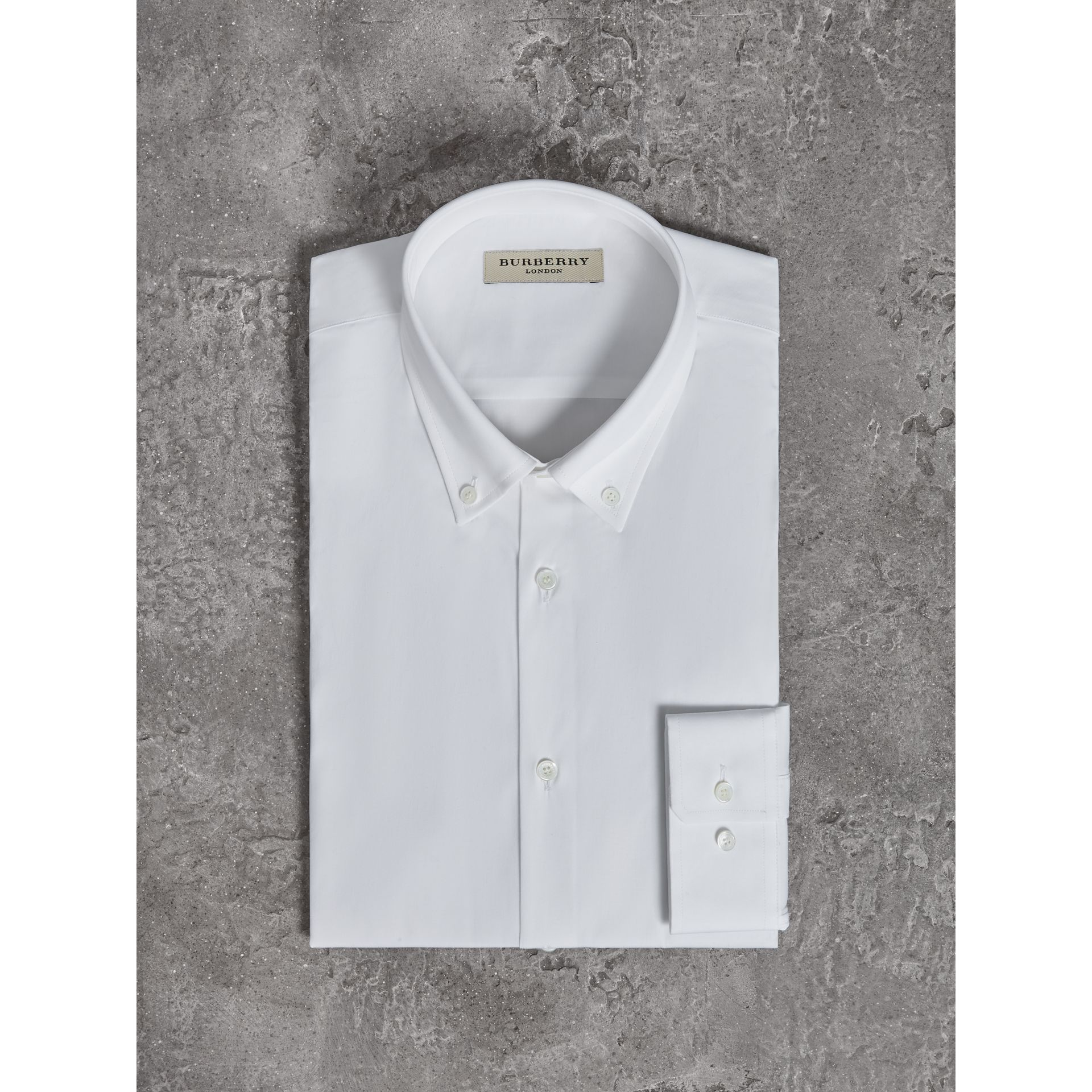 Modern Fit Button-down Collar Stretch Cotton Shirt in White - Men | Burberry Australia - gallery image 4