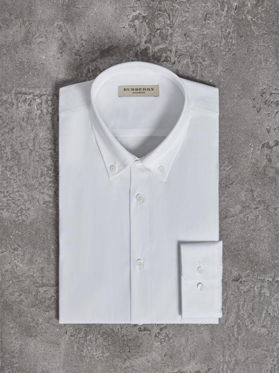 Modern Fit Button-down Collar Stretch Cotton Shirt in White - Men | Burberry - cell image 3