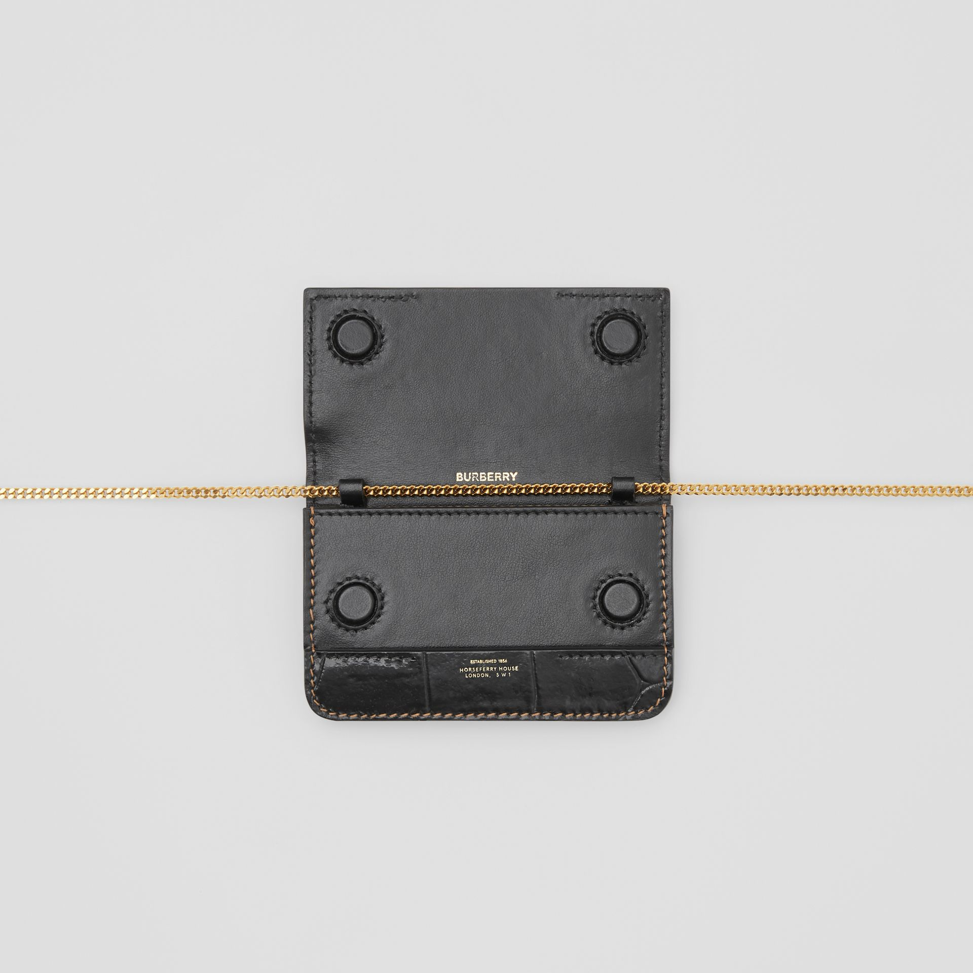 Porta-cartões de couro e camurça com alça removível (Branco/bordo/preto) - Mulheres | Burberry - galeria de imagens 3