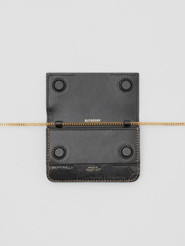 Porta-cartões de couro e camurça com alça removível (Branco/bordo/preto) - Mulheres | Burberry - cell image 3