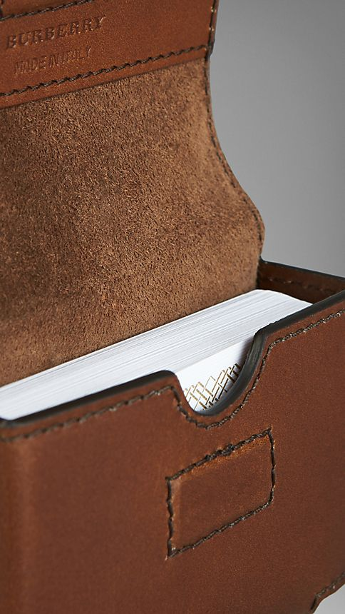 Brown ochre Sartorial Leather Playing Card Case - Image 3