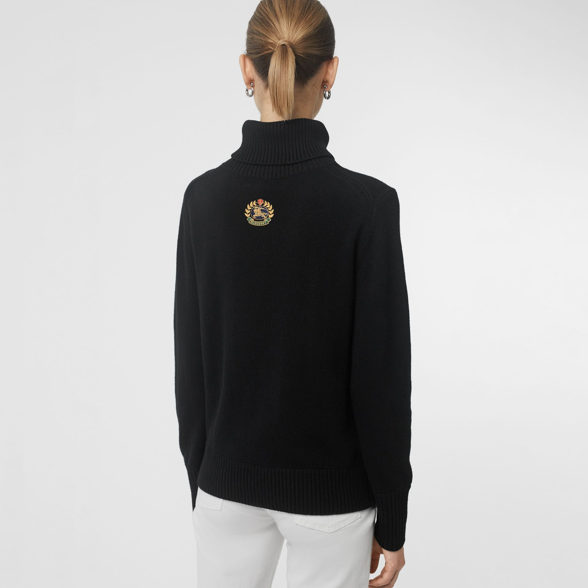 Embroidered Crest Cashmere Roll-neck Sweater in Black - Women | Burberry Australia - gallery image 2