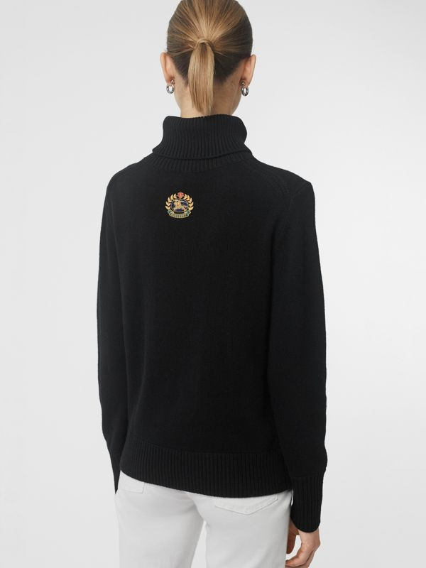 Embroidered Crest Cashmere Roll-neck Sweater in Black - Women | Burberry Singapore - cell image 2