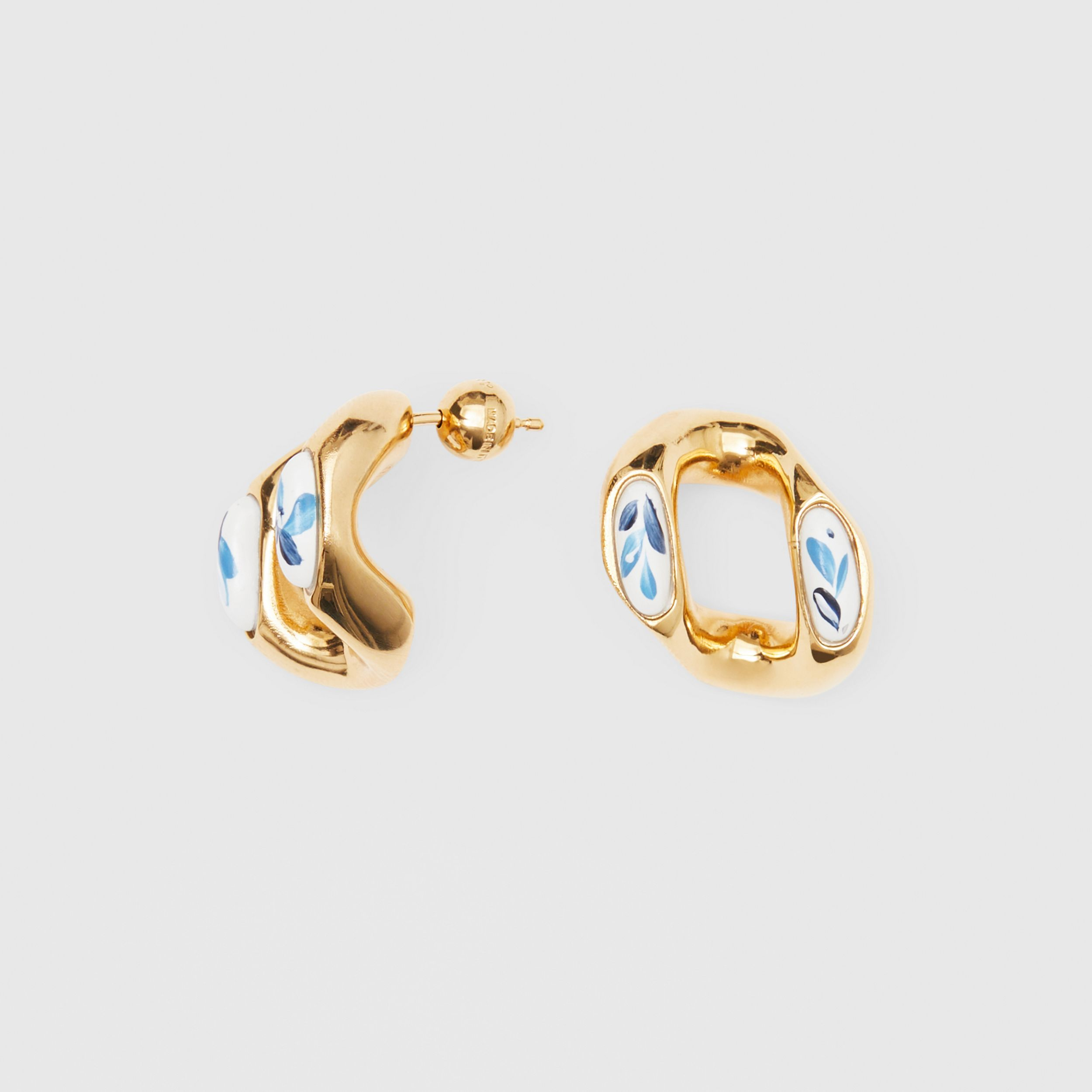 Enamel Detail Gold-plated Chain-link Earrings in Light Gold/white/blue | Burberry Singapore - 4