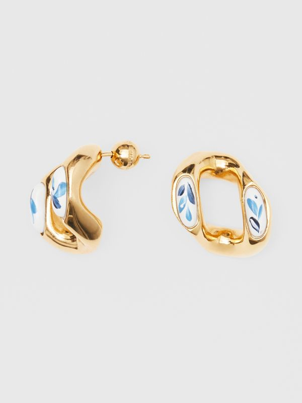 Porcelain Detail Gold-plated Chain-link Earrings in Light Gold/white/blue - Women | Burberry - cell image 3