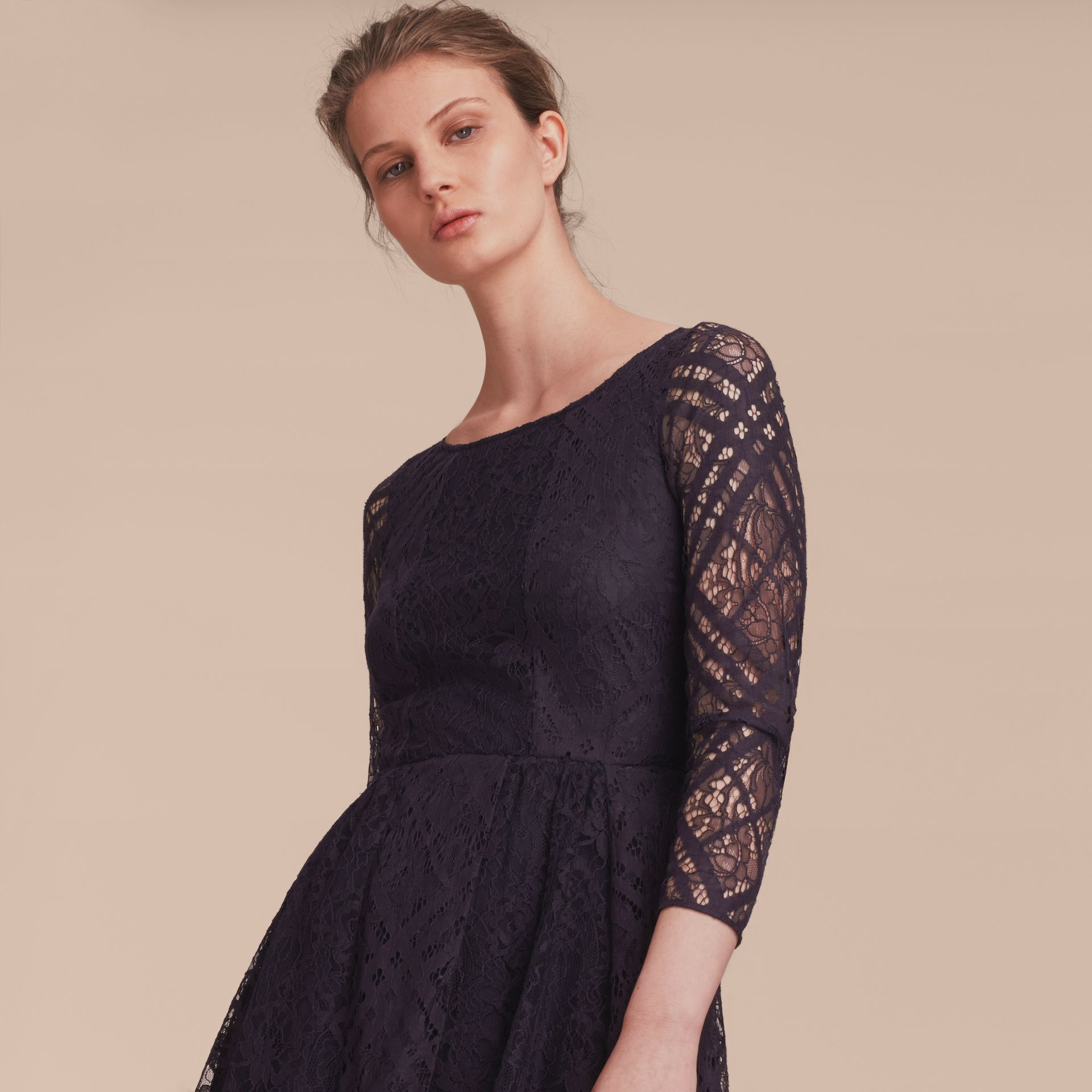 Check Lace Fit and Flare Dress in Navy - Women | Burberry - gallery image 6