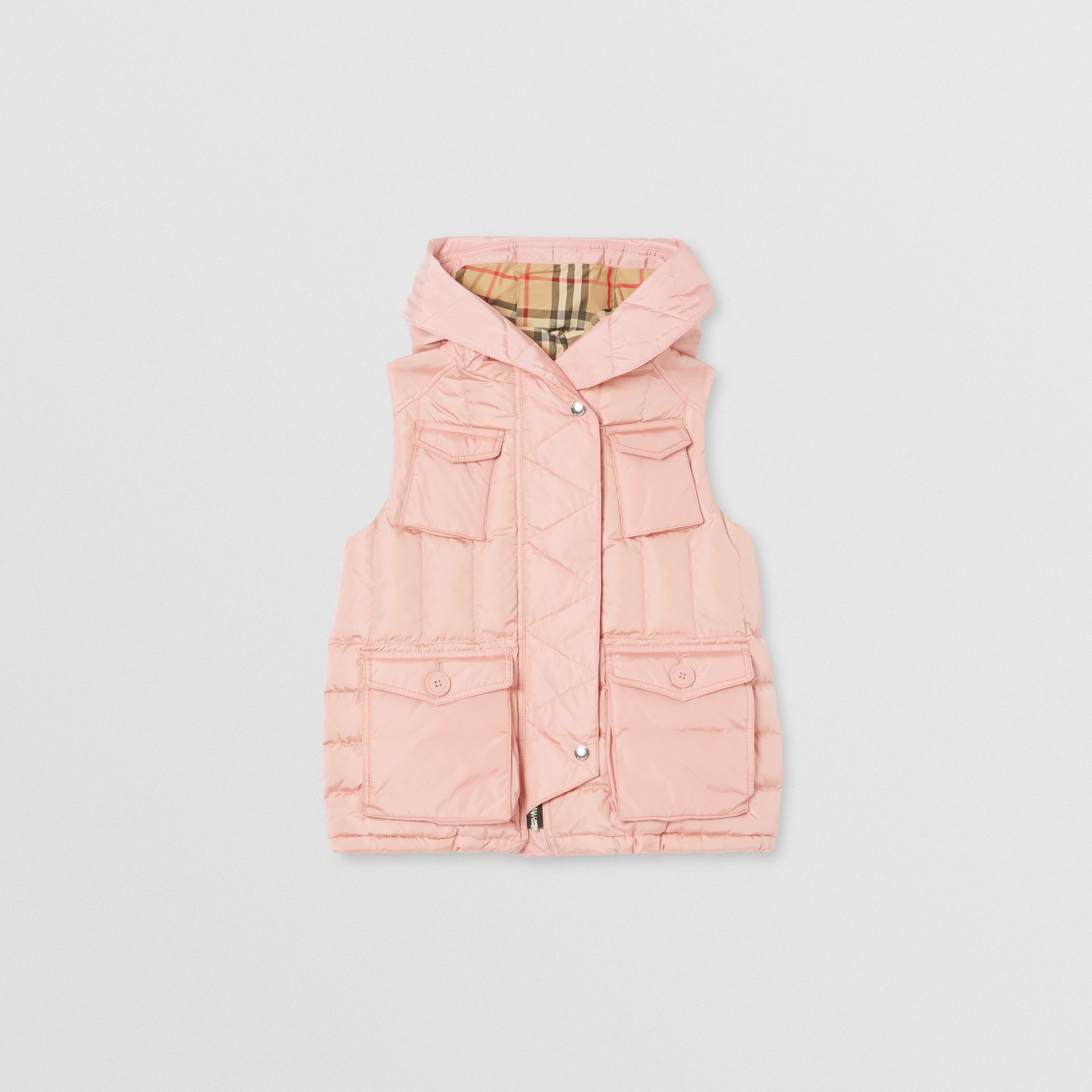 Down-filled Hooded Puffer Gilet in Dusty Pink | Burberry Hong Kong S.A.R - gallery image 0